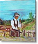 Cowboy On The Farm Metal Print