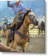 Cowboy Roping A Steer Metal Print