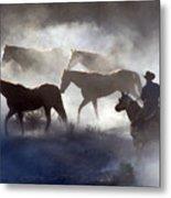Cowboy Rounding Up Four Horses Metal Print