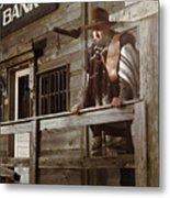 Cowboy Waiting Outside Of A Bank Building Metal Print