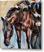 Cowboy With His Horse Metal Print