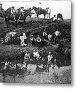 Cowboys Bathing Metal Print