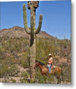 Cowgirl And The Crested Saguaro Metal Print