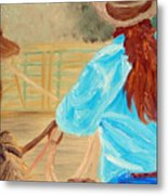 Cowgirl Roping Metal Print