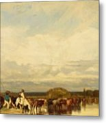 Cows Crossing A Ford 1836 Metal Print