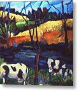 Cows In Landscape Metal Print