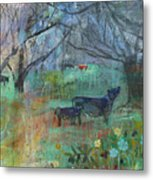 Cows In The Olive Grove Metal Print