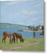Cows On The Banks Of The Seine At Saint Mammes Metal Print