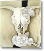 Cow's Skull With Calico Roses By Georgia O'keeffe Metal Print