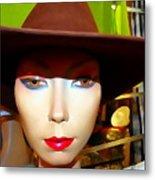 Coy Cowgirl Metal Print