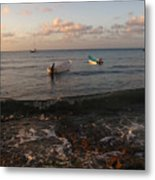 Cozumel Waterfront With Two Boats Metal Print