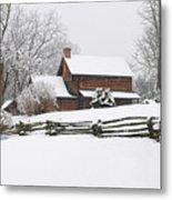 Cozy Snow Cabin Metal Print