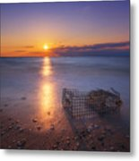 Crab Trap Sunset Le Metal Print