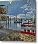 Crabpots And Fishing Boats Metal Print