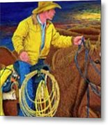 Cracker Cowboy Sunrise Metal Print