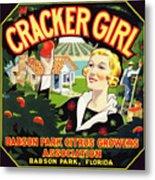 Cracker Girl Citrus Crate Label C. 1920 Metal Print