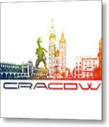 Cracow City Skyline Color Metal Print