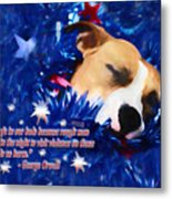 Cradled By A Blanket Of Stars And Stripes - Quote Metal Print