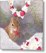 Cranberry Garlands Christmas Squirrel Metal Print