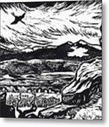 Crane Flying Past The Cedar Breaks Metal Print