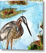 Crane In Florida Swamp Metal Print