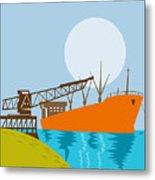 Crane Loading A Ship Metal Print by Aloysius Patrimonio