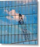 Crane Reflection - Atlantic City Metal Print