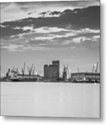 Cranes At The Port Of Thessaloniki Metal Print