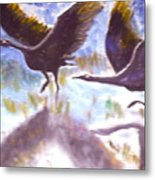 Cranes N Flight Metal Print
