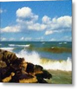 Crashing Into Shore Metal Print