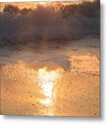 Crashing Wave At Sunrise Metal Print