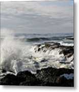 Crashing Waves At Cape Perpetua Metal Print