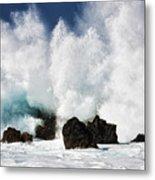 Crashing Waves At Laupahoehoe Point. Metal Print