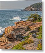 Crashing Waves At Otter Cliff Metal Print