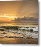 Crashing Waves At Sunrise Metal Print