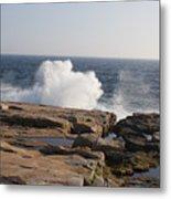 Crashing Waves On Maine Coast Rocks  Metal Print