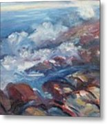 Crashing Waves On Rocks Metal Print