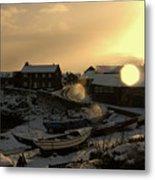 Craster Harbour In Winter 2 Metal Print