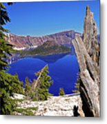 Crater Lake And Wizard Island Metal Print