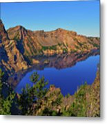 Crater Lake Morning Reflections Metal Print