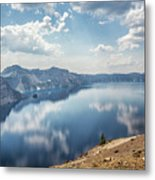 Crater Lake With A View Of The Phantom Ship Metal Print