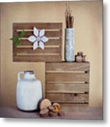 Crates With Flower Still Life Metal Print