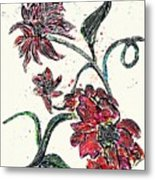 Crayon Flowers Metal Print