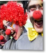 Crazy Circus Clowns Metal Print
