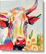 Crazy Cow Metal Print