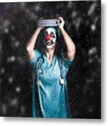 Crazy Doctor Clown Laughing In Rain Metal Print