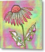 Crazy Flower With Funky Leaves Metal Print
