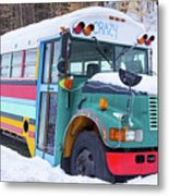 Crazy Painted Old School Bus In The Snow Metal Print