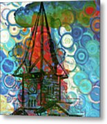 Crazy Red House In The Clouds Whimsy Metal Print
