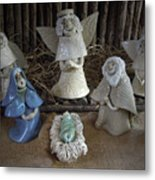 Creche Mary Joseph And Baby Jesus Metal Print by Nancy Griswold